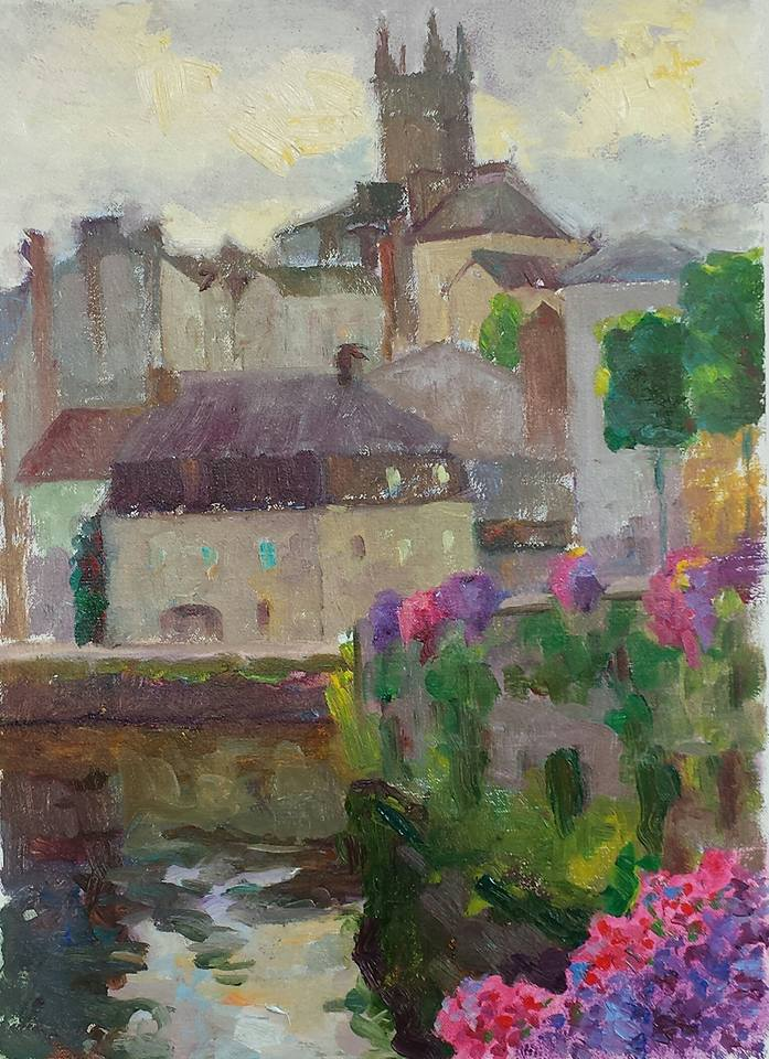 View of the Cathedral, Quimperle. Bretagne. oil on canvas