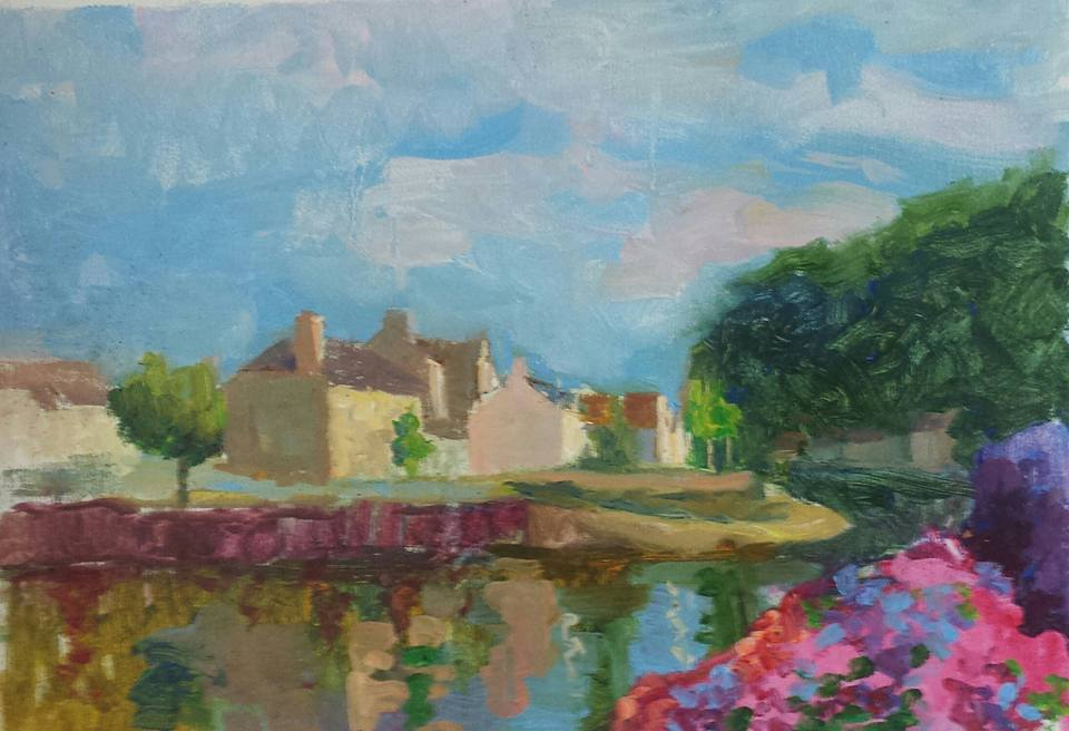 View of Quimperle Across Laita River. oil on canvas