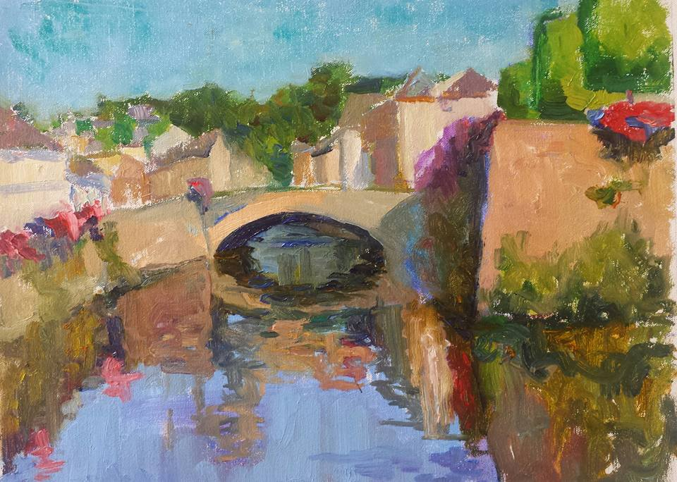 Bridge over Laita. Quimperle, Bretagne. oil on canvas.