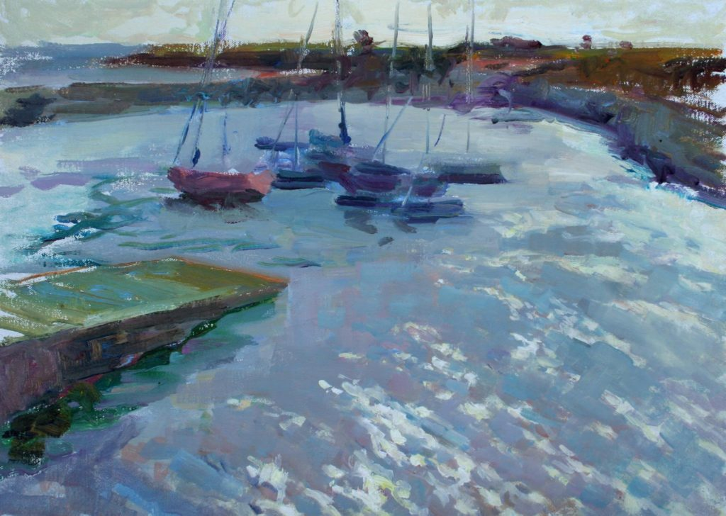 Boats in Doelan, Bretagne. oil on canvas.