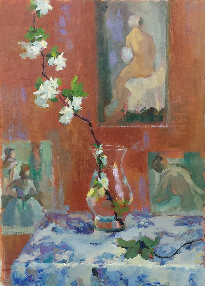 Apple Blossom with Degas Images. oil on canvas.
