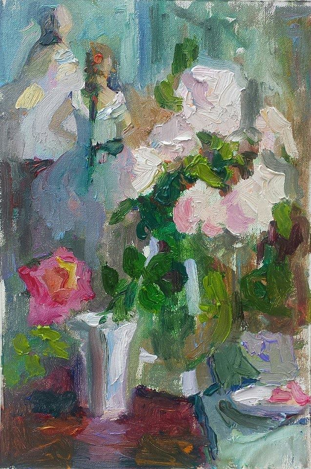 White Roses and Ballerinas, Sketch. oil on canvas.