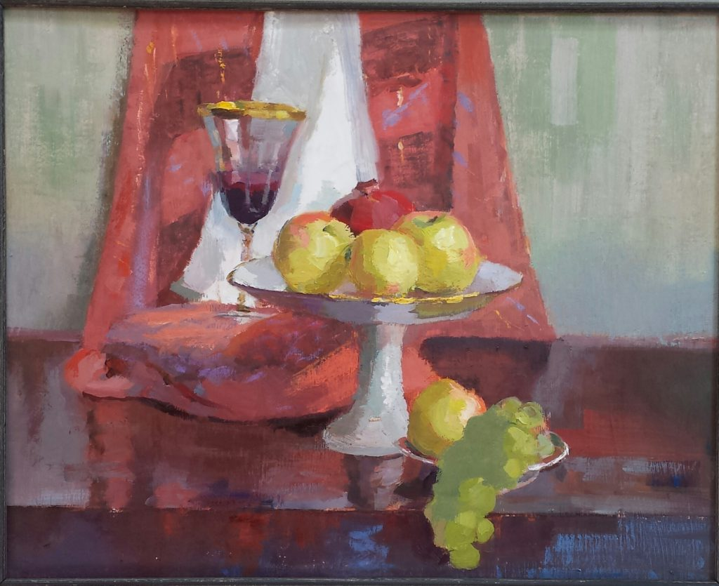 Still Life with Composte, Apples and Wine Glass. oil on canvas.