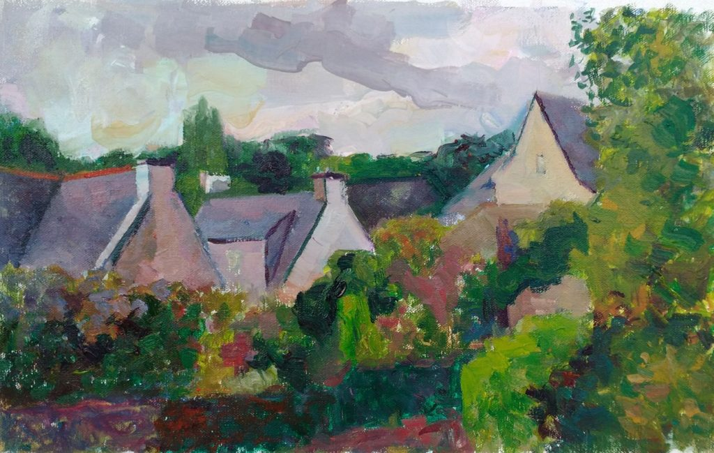 Rooftops in Hennebont. oil on canvas.