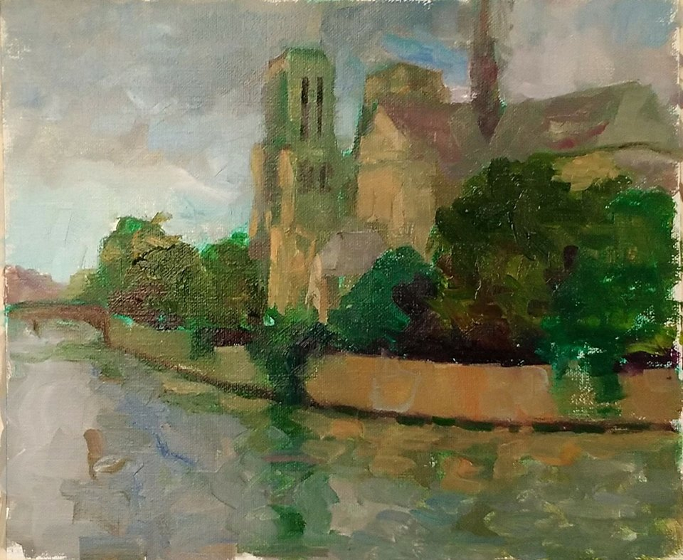 Evening light. Notre Dame de Paris. oil on canvas