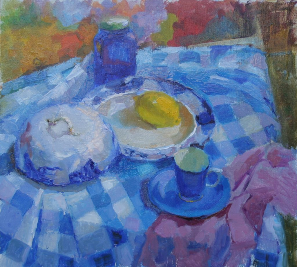 Still Life with a Checkered Tablecloth. oil on canvas.
