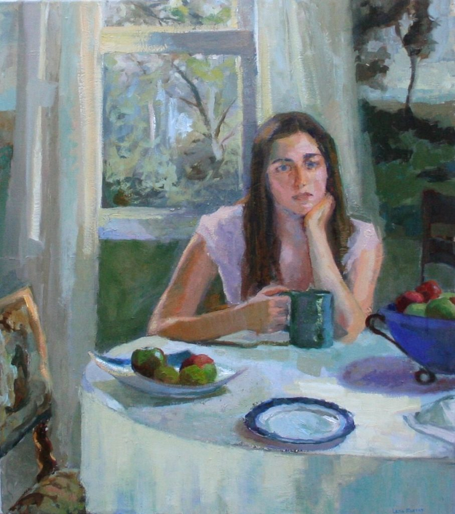 Winter Light. Girl Sitting at the Table. oil on canvas