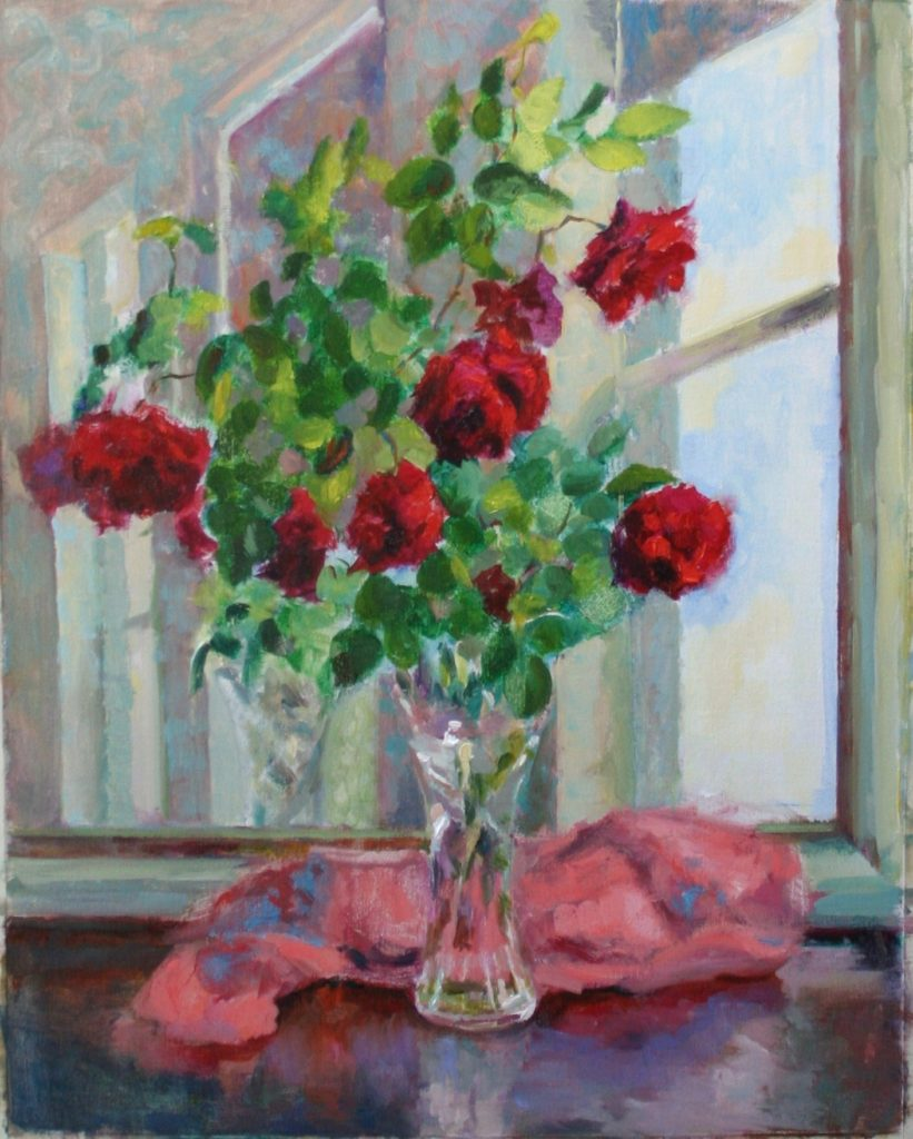Red Roses with Mirror. oil on canvas.