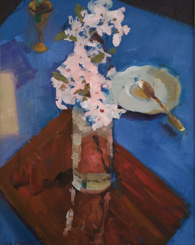 Cherry Blossoms. Homage to Petrov-Vodkin. oil on canvas.