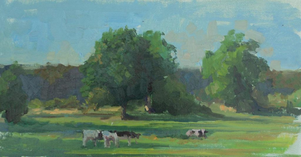 Cows in Normandy, oil on canvas.