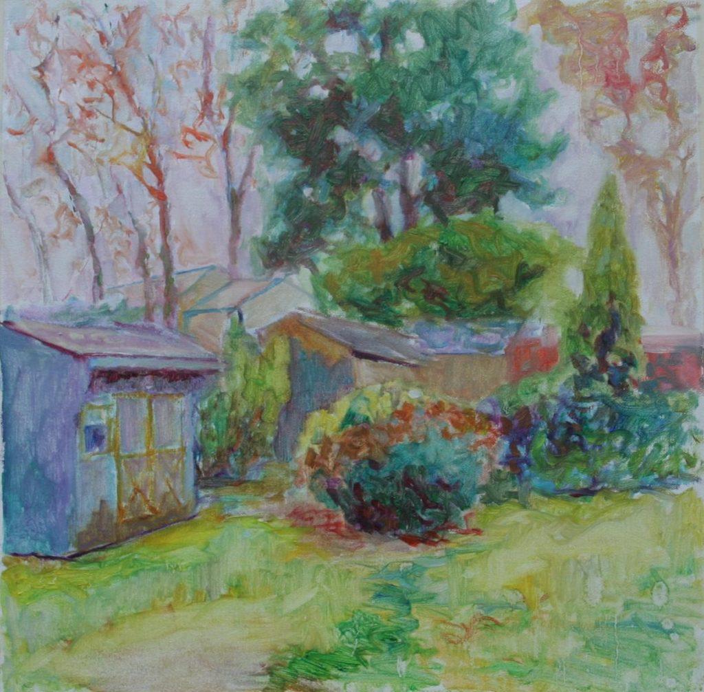 Backyard during Rain. oil on canvas