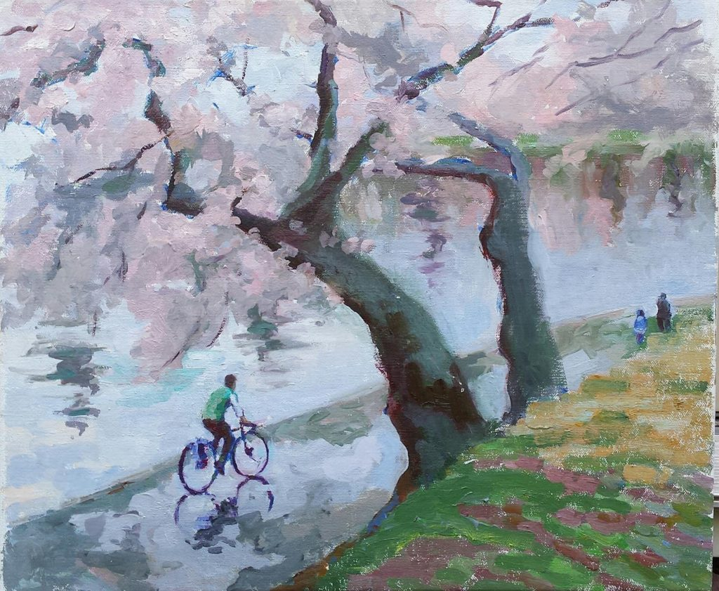 Cherry Blossoms and a Bicycle Rider. oil on canvas