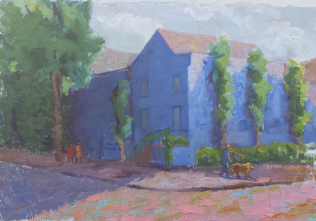 Blue House in Georgetown. oil on canvas