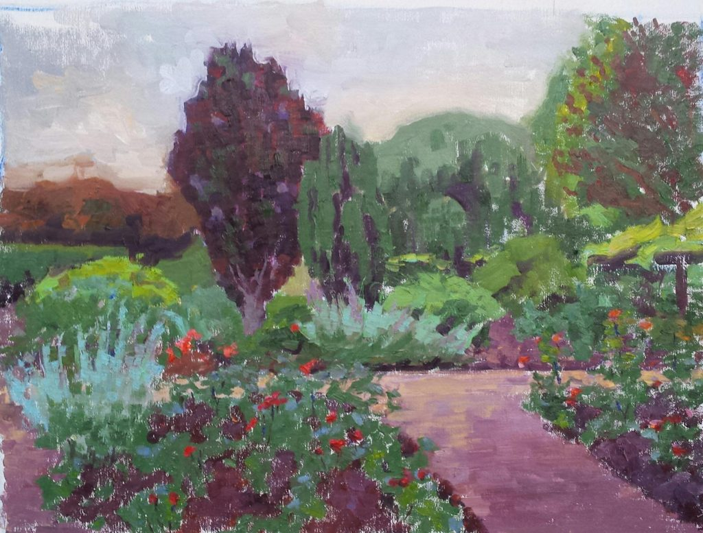 Rose Garden in the evening. oil on canvas