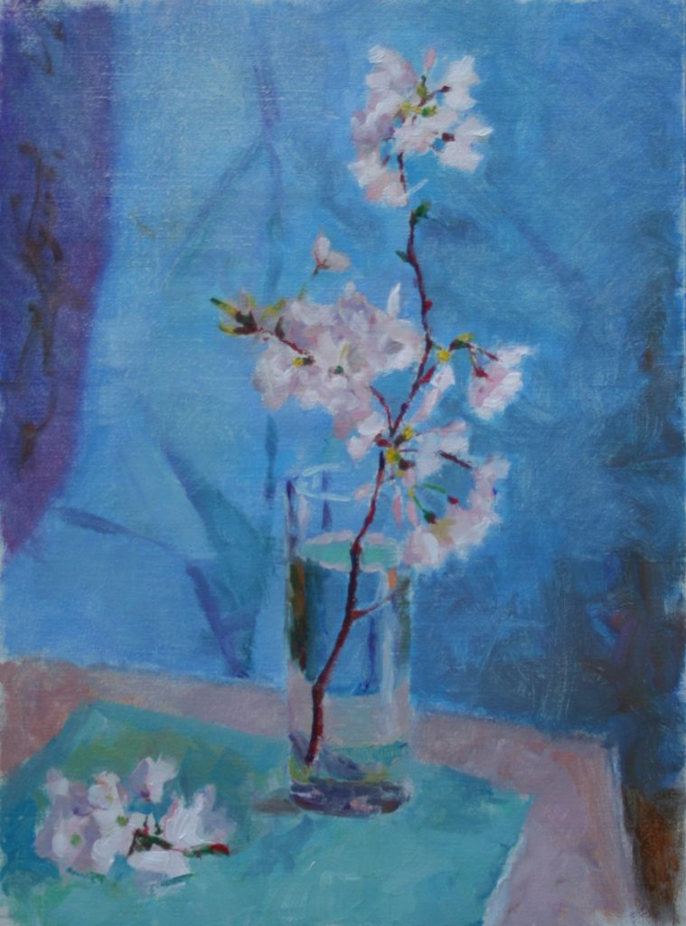 Cherry Blossoms with Blue and Turqoise. oil n cavas.