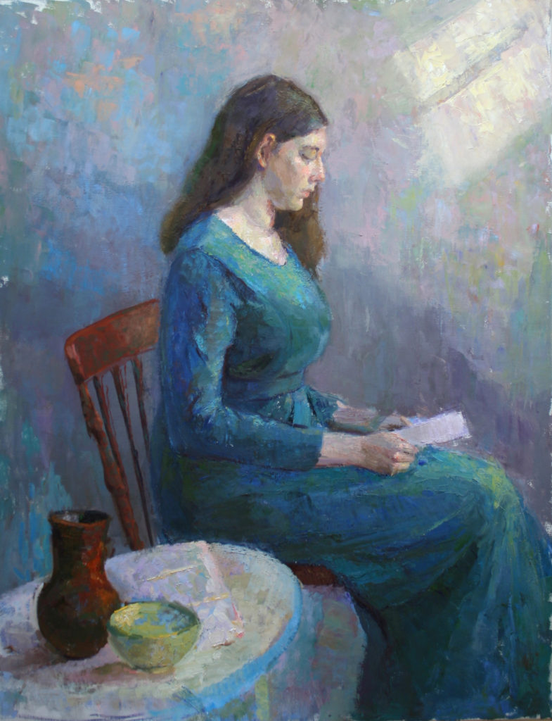 Girl Reading, oil on canvas
