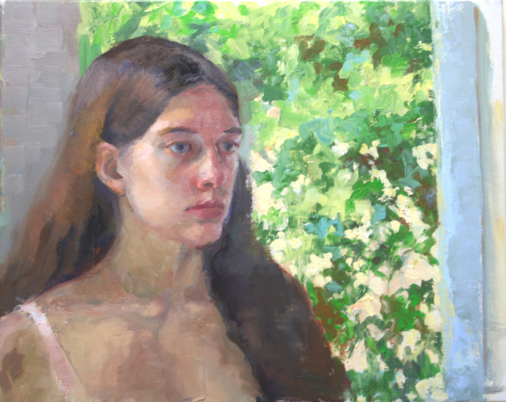 Eleni against the Window. oil on canvas.