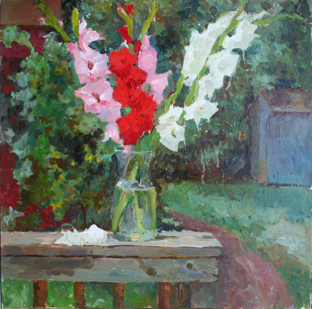 Gladioluses. Fall. oil on canvas.