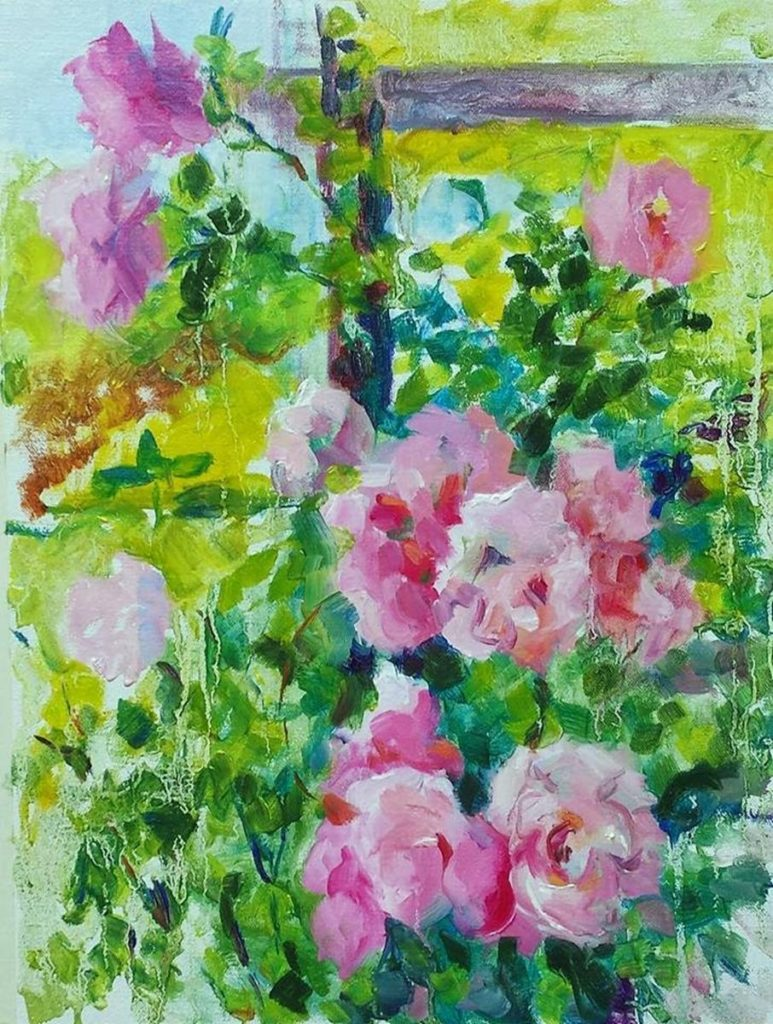 Climbing Roses in Brookside Gardens. oil on canvas.