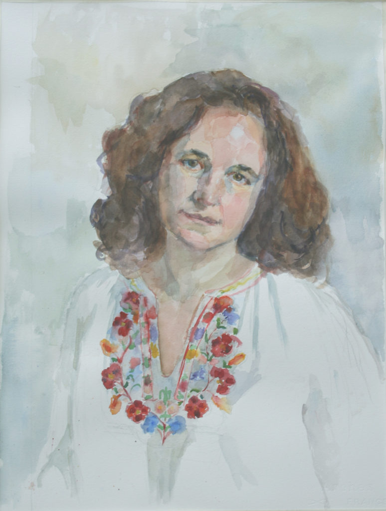 Self Portrait with Embroidered Shirt.. Watercolor.