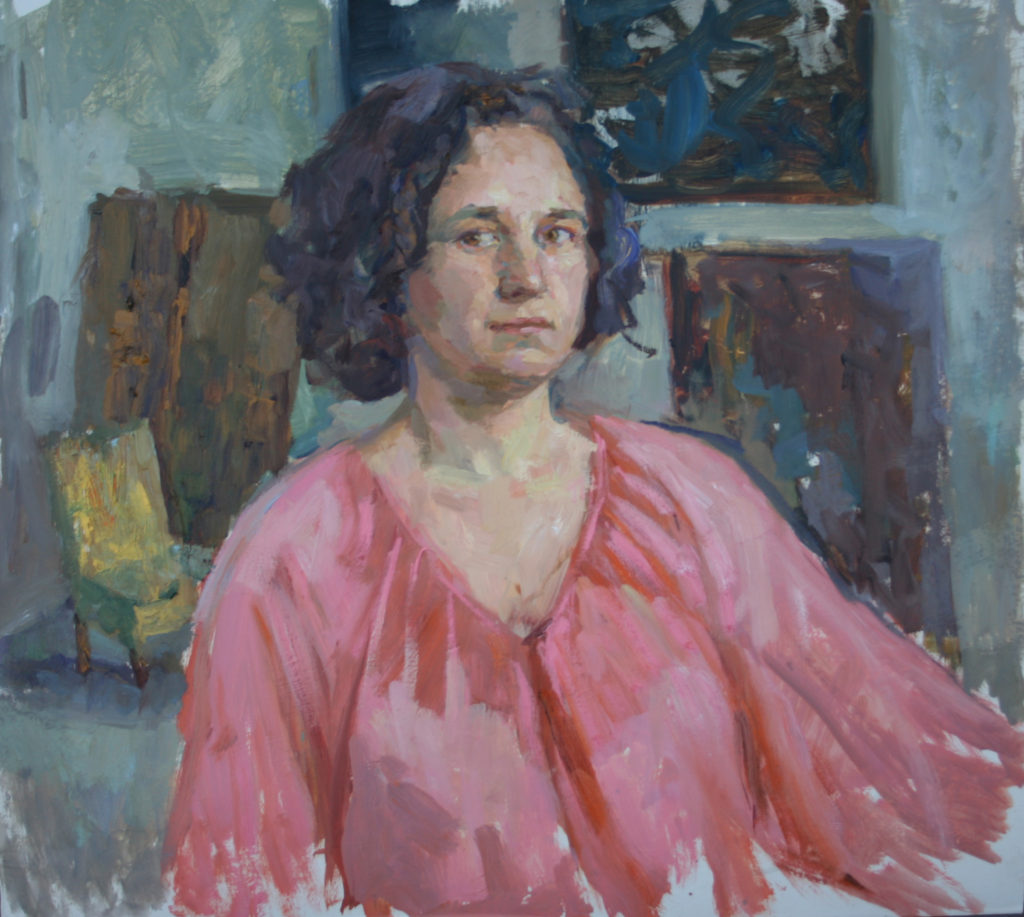 Self portrait in Pink Blouse.
