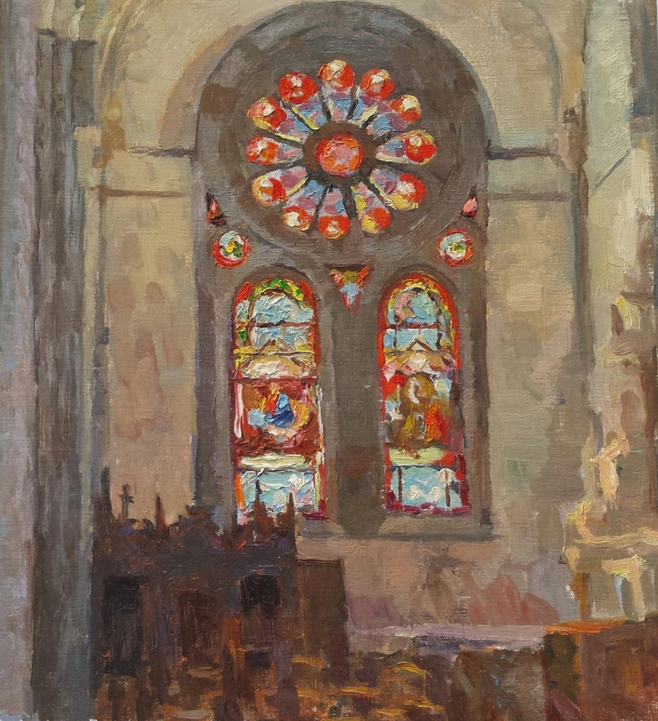 Church in Plancoet, Bretagne. oil on canvas