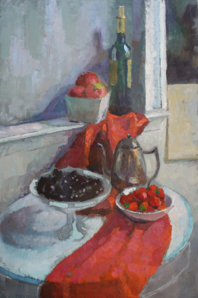 Wine, Strawberries and Cherries. oil on canvas.