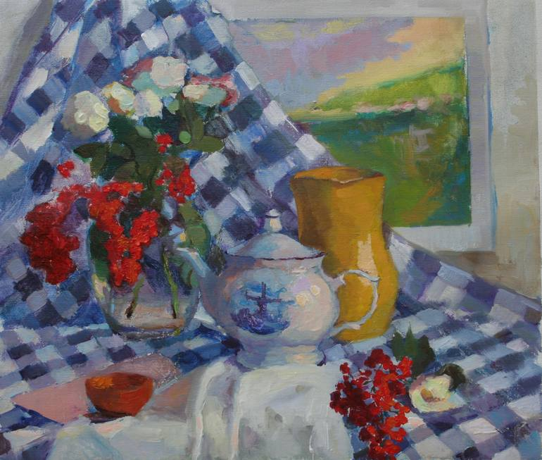 Still Life with Checkered Cloth, Dutch Teapot and Holly, oil on canvas