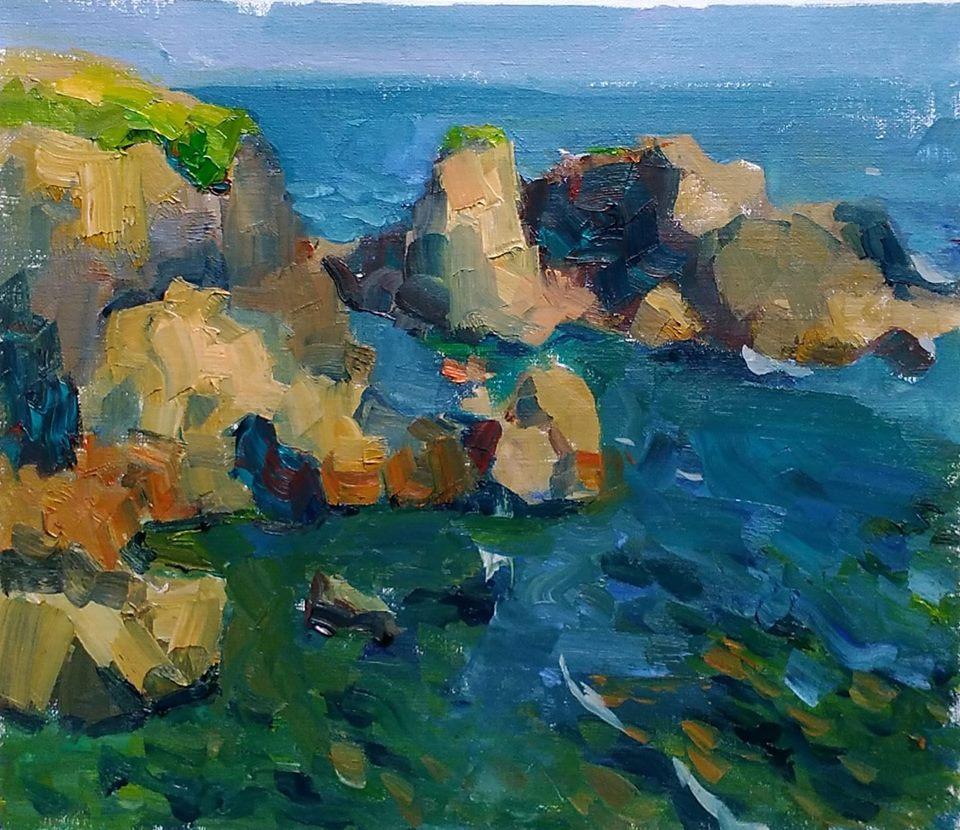 Ocean Rocks near Doelan, Brittany, oil on canvas.