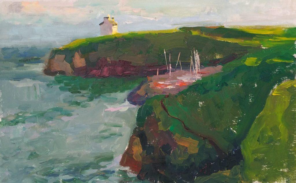 Poludu Coast with sail boats, sunset. oil on canvas
