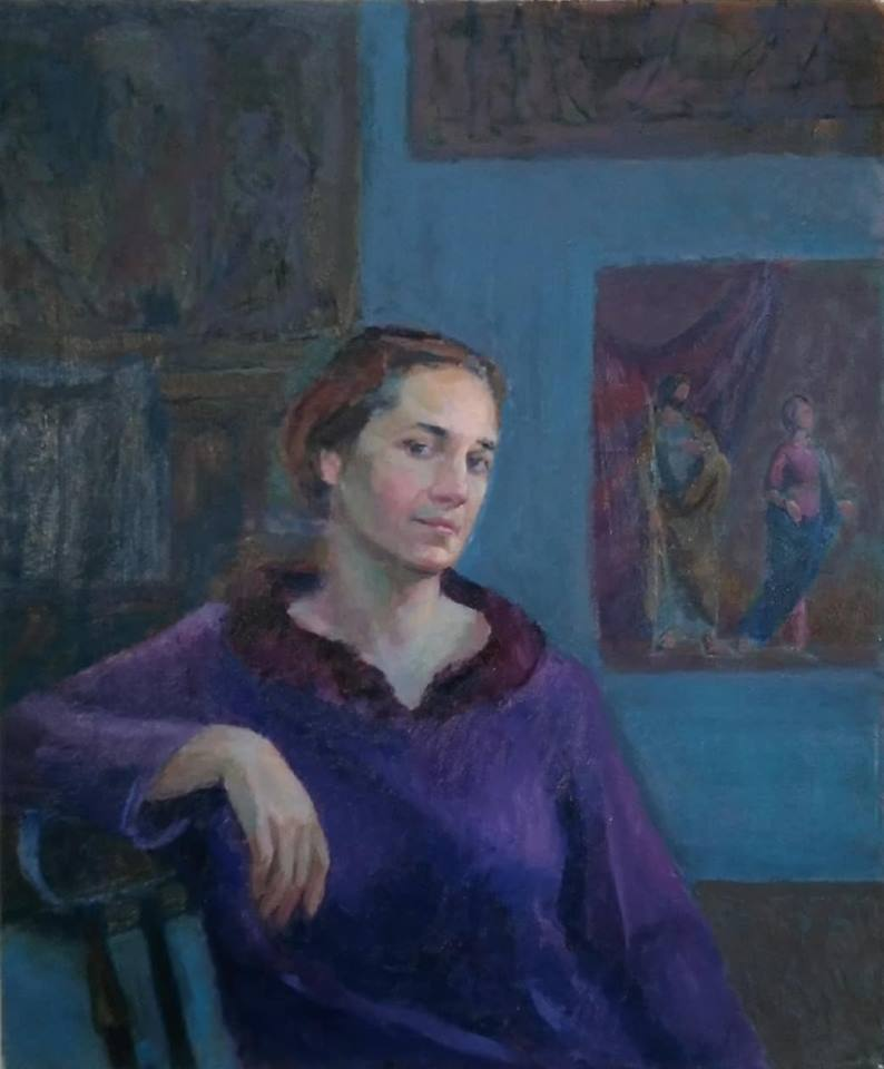 Self portrait in art studio, oil on canvas.